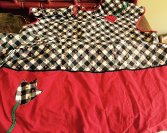 Smock apron red and black