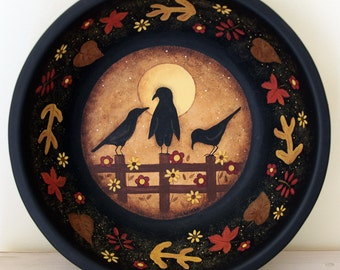 Halloween Folk Art Hand Painted Trick or Treat Bowl, Primitive Painting, Three Crows Sitting on Fence, Autumn Leaves, Moon,  MADE TO ORDER