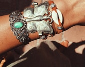 RCBA-05, repurposed vintage butterfly concho wrap bracelet