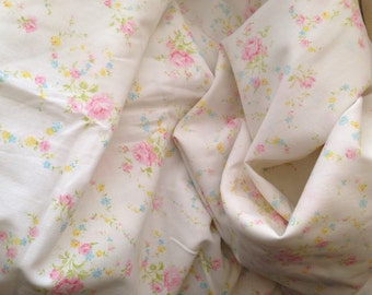 Vintage Monticello Full Flat Floral Sheet and Pillowcase