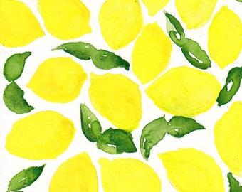 Lemons and Leaves Summer Watercolor Notecard