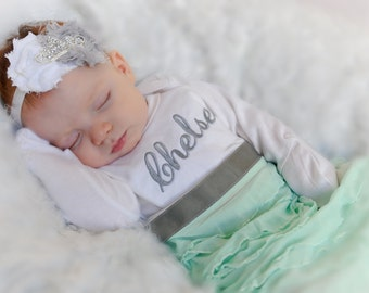 Newborn hospital outfit personalized baby girl clothes newborn personalized newborn gown baby girl clothes newborn girl take home outfit personalized baby layette gown tiara negle Image collections