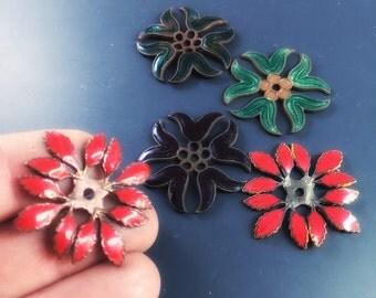 5 ENAMEL flowers findings. red, black, green. blank stampings  No.00818