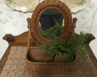 Vintage Natural Wicker Mirror With Basket Storage