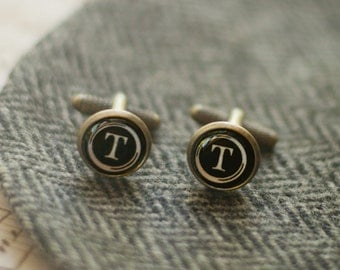 Personalized Typewriter Key Initial Cuff Links - Eden collection - Groomsmen Gift - Wedding party - Fathers Day gift