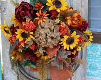 Fall Sunflower Western Lariat Rope Wreath with burnt orange peonies & burlap bow / burgundy, yellow, and orange autumn flowers o2 lasso