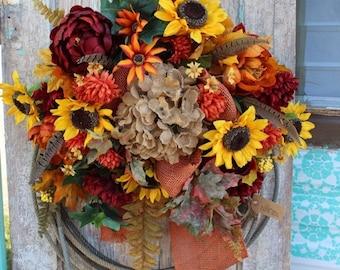 Sale Fall Sunflower Western Lariat Rope Wreath with burnt orange peonies & burlap bow / burgundy, yellow, and orange autumn flowers o2 lasso