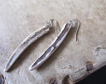 Deer Antler Earrings - SPICA- Horn Spike Tusk Tribal Minimalist Earthy Jewelry