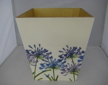 Agapanthus Waste Paper Bin Trash Can Handmade Wooden handmade in UK