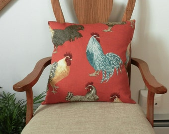 Chickens Pillow Cover rust orange turquoise  Kaufman soil and stain repellant finish Home Dec Fabric 18 x 18 inch, invisible zipper closure