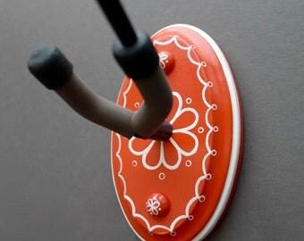 Instrument Wall Hanger Hook for Ukulele, Fiddle, Mandolin, Violin or Guitar - Ready to Ship - Orange