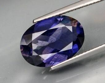 Dark Blueish Violet Iolite Faceted Oval Shape, 5.37 Carats, 15 x 11 MM, Natural Gemstone