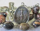 Handmade Catholic Tenner Single Decade Rosary, Holy Souls of Purgatory, Oval Leopardskin Jasper Gemstone Beads, Holy Trinity Crucifix