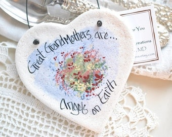 Great Grandmothers Gift Valentine's Day Salt Dough Ornament / Birthday / Mother's Day / Christmas Ornament / Wedding
