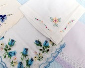 Vintage Ladies Cotton 5 hankies assortment Embroidered Floral
