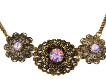 Art Nouveau Dragons Breath Fire Opal Art Glass Brass Filigree Necklace