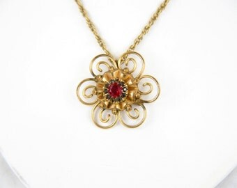 Victorian PS Co. Ruby and Topaz crystal 10K GF Pendant Necklace & Brooch