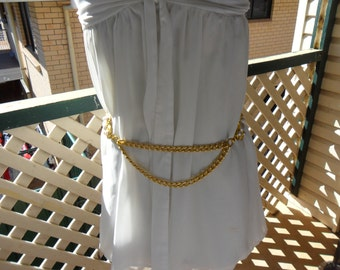 Authentic Vintage Large Medallion Faux Pearl Chain Belt