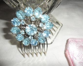 Authentic Vintage Beautiful Blue Rhinestone Circle Silver Hair Comb WEDDING, PROM, BRIDE