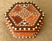Antique Inlaid Marquetry Wood 6 Side Box Inside Perfect and has Key