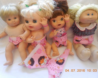 Ready  #2 cloth doll diaper Dora washable w velcro fits bitty baby some baby alive American Girl doll baby all gone cabbage patch & more
