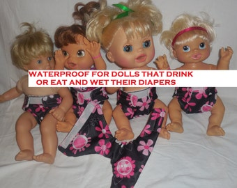 WATERPROOF Ready to ship cloth doll Diaper size #2  flowers absorbent inside prevent leaking fits some baby alive bitty baby baby all gone