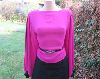 Nice Blouse Vintage / Pink / Magenta / Size44 / UK16 / Poly