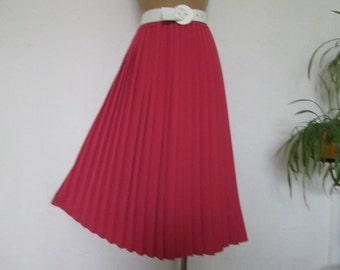Pleated Skirt / Pleated Skirts / Skirt Vintage / Pink Pleated Skirt / Elastic Waist / UK 12 / 14 X EUR40 / 42
