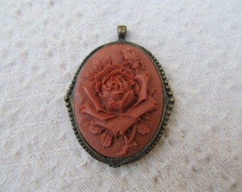 Antique Brass and Carved Rose Flower Pendant