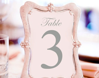 Printable Grey Wedding Table Numbers 1 - 12  | Instant Download | Events | Banquet | Anniversary | Reception