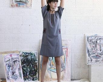 Embroidered Dress, Grey Midi Dress, Grey Casual Dress