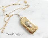 Antique locket, Long gold locket, antique stamp case, Vesta,  Two Girls Gems