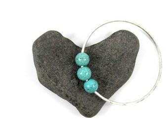 Sterling Silver Hammered Bangle, Turquoise Gemstone Jewelry, December Birthstone Gemstone, Gift Idea, Thick Textured Bracelet, Handmade Maui