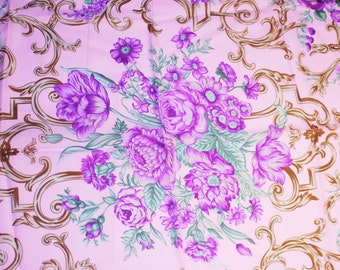 Vintage Floral Head Scarf, Flower Patterned Scarf, Purple, Brown, Pink Colors Scarf, Made in Italy Scarf