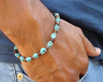 Men's Rocker Bracelet with Turquoise Skulls, Brown Wood Rondelles, Copper Rondelles - Rock Man Bracelet - Skulls Bracelet - Goth Bracelet