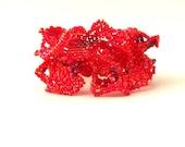 Red Bracelet Beaded Bracelet Birthday gift ideas Beaded jewelry Seed bead bracelet Original gift Autumn finds