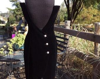 Zum Zum 80s women 11/12 black velvet sheath dress..satin sleeves, rhinestone buttons