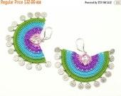 50% OFF Earrings-Bohemian Crochet Statement Earrings, Ethnic Style Big Earrings, Green Pink Blue, Geometric Earrings, Fiber Jewelry