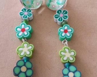 Sale was 10 now 9uk Silvertone Leverback Small Faux Milli Fiori Green Dangel Flower earrings.