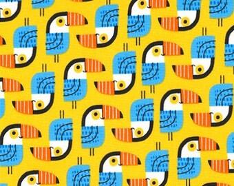 Little Senoritas Toucan in Yellow, Suzy Ultman, Robert Kaufman Fabrics, 100% Cotton Fabric, ASD-16537-5 YELLOW