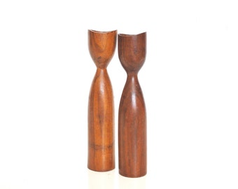 Danish Mid-Century Candle Holders - Wooden Candle Holders