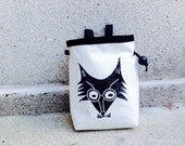 FOXIN..  handcarved, blockprinted, rock climbing chalk bag..ready to ship.