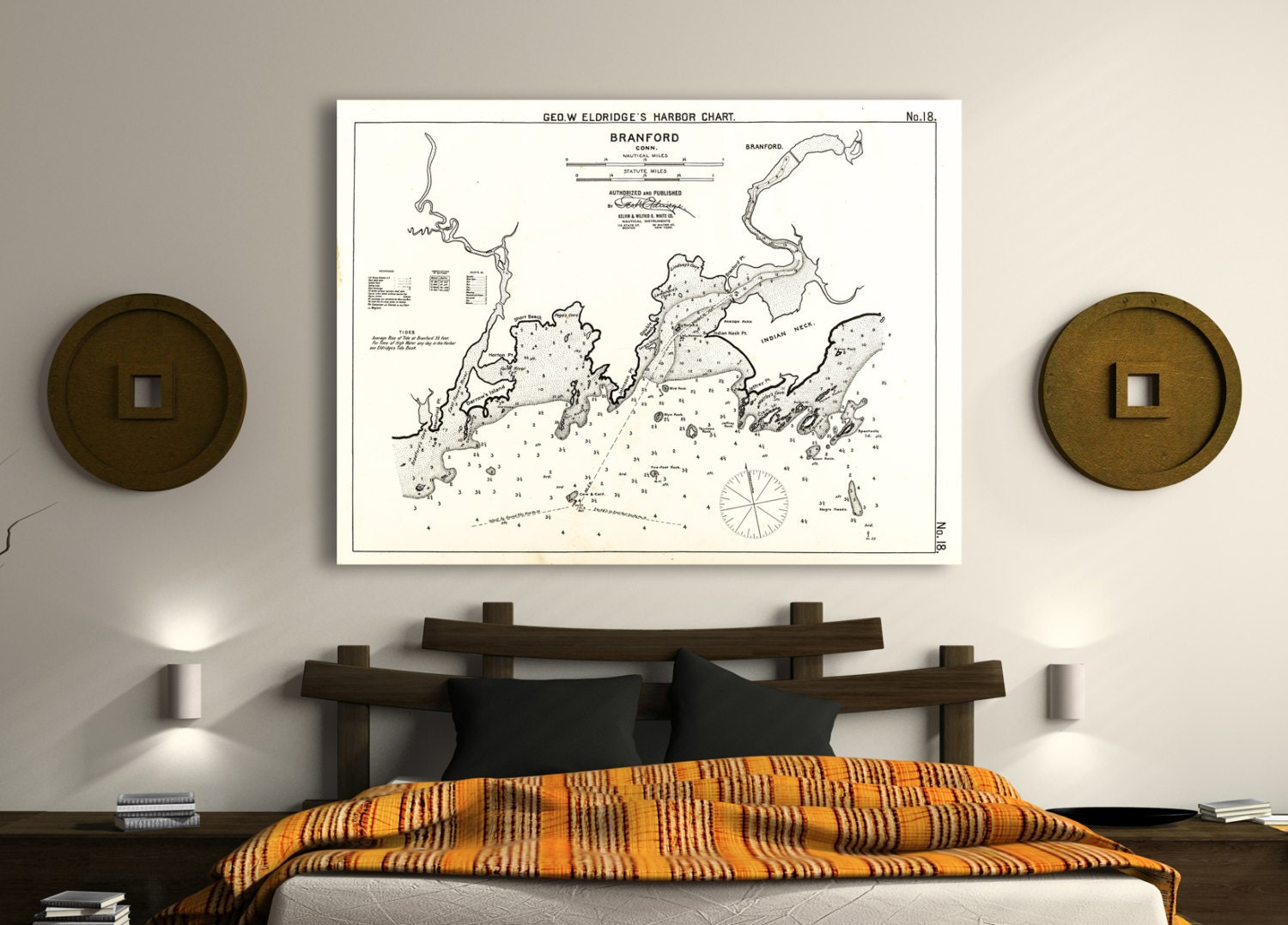 Antique print of a chart of branford connecticut on your for 12x15 calculator