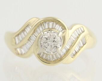 Diamond Engagement Ring - 14k Yellow & White Gold Size 8 Genuine 1.03ctw Unique Engagement Ring  l7308