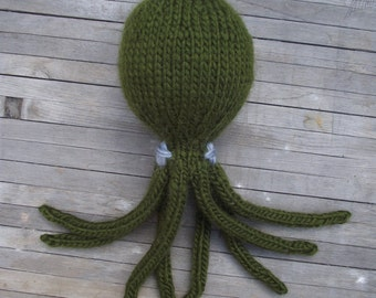Olive Green Octopus-- Wool with Kapok Fiber