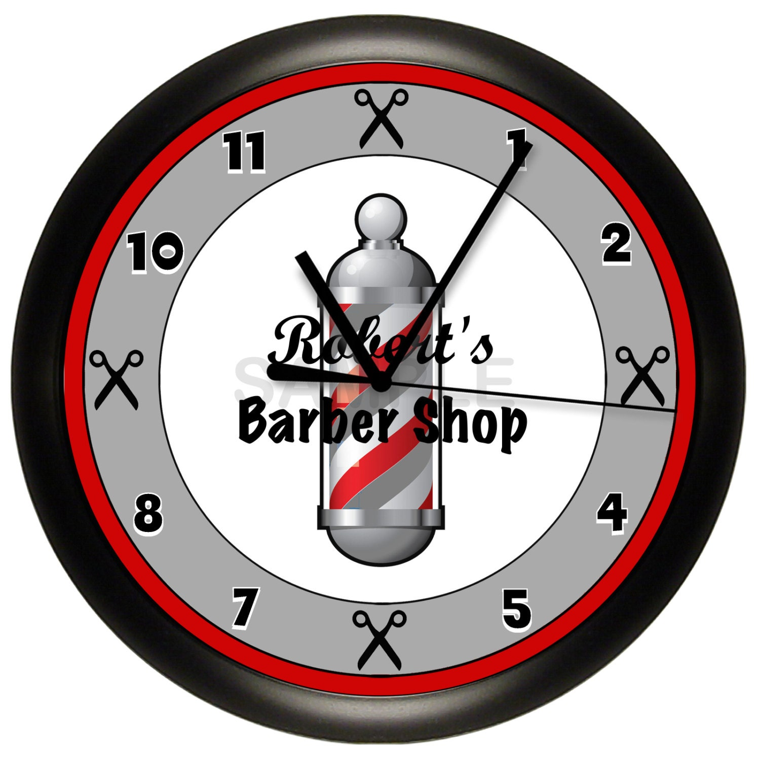 barber shop custom wall clock. Black Bedroom Furniture Sets. Home Design Ideas