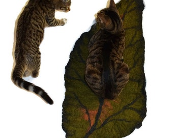 Leaf Me Alone Cat Mat Bed - Felted Wool - Ready to Ship