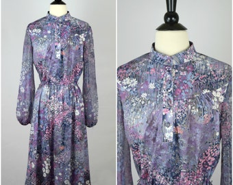Vintage royal blue paisley bohemian collared dress / bright striped detail ethnic long sleeve day dress / cinched waist