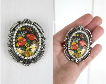Vintage black floral and silver brooch with a pearl border / bohemian pin