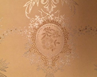 Full Lg Heavy Roll antique Wallpaper late 1800s Janeway & Carpenter breathtaking silver golds cameos garlands gorgeous!!!
